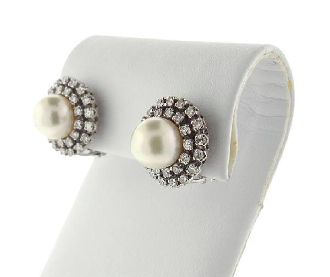 18K Gold Diamond Pearl Earrings - 2