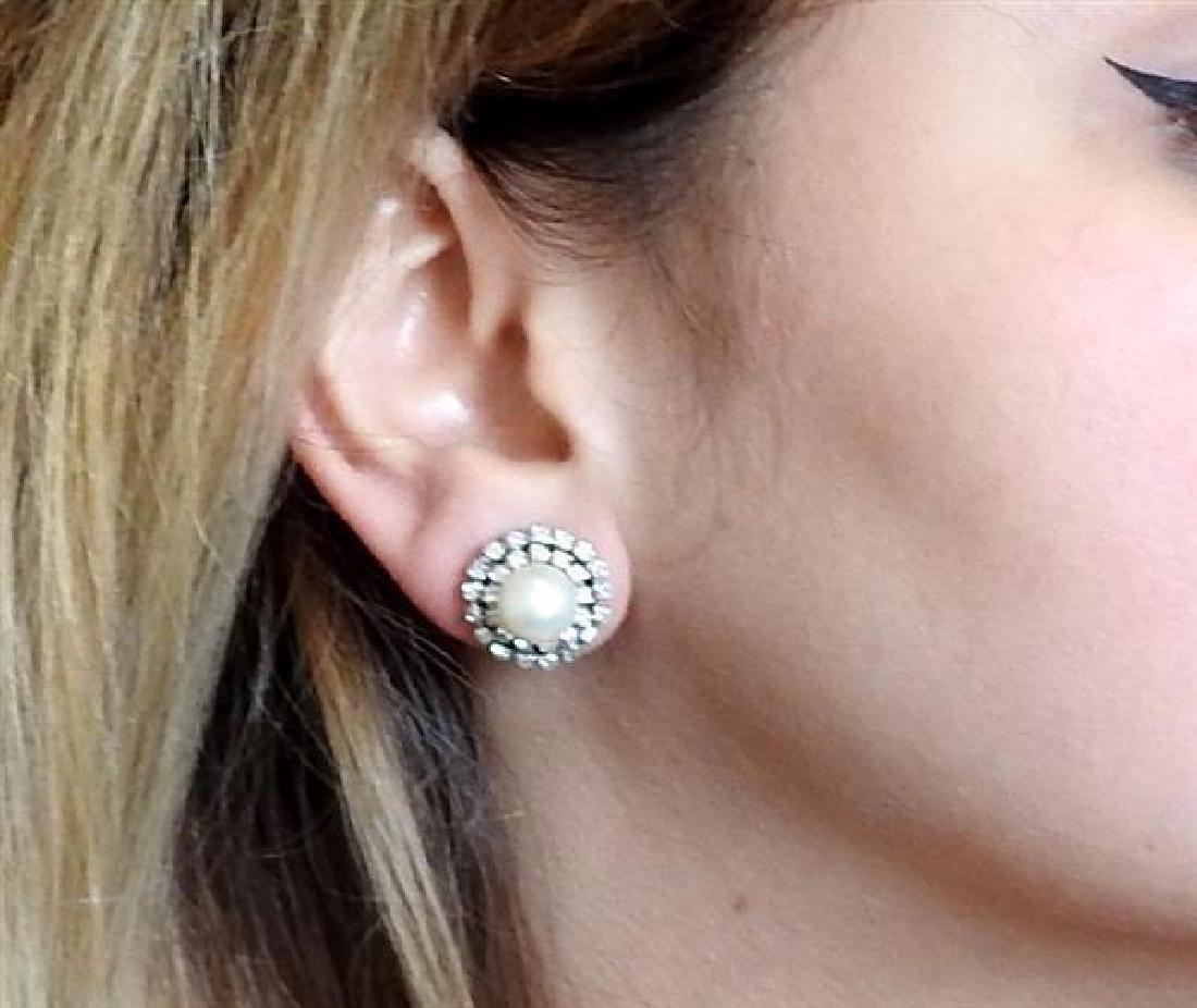 18K Gold Diamond Pearl Earrings - 5