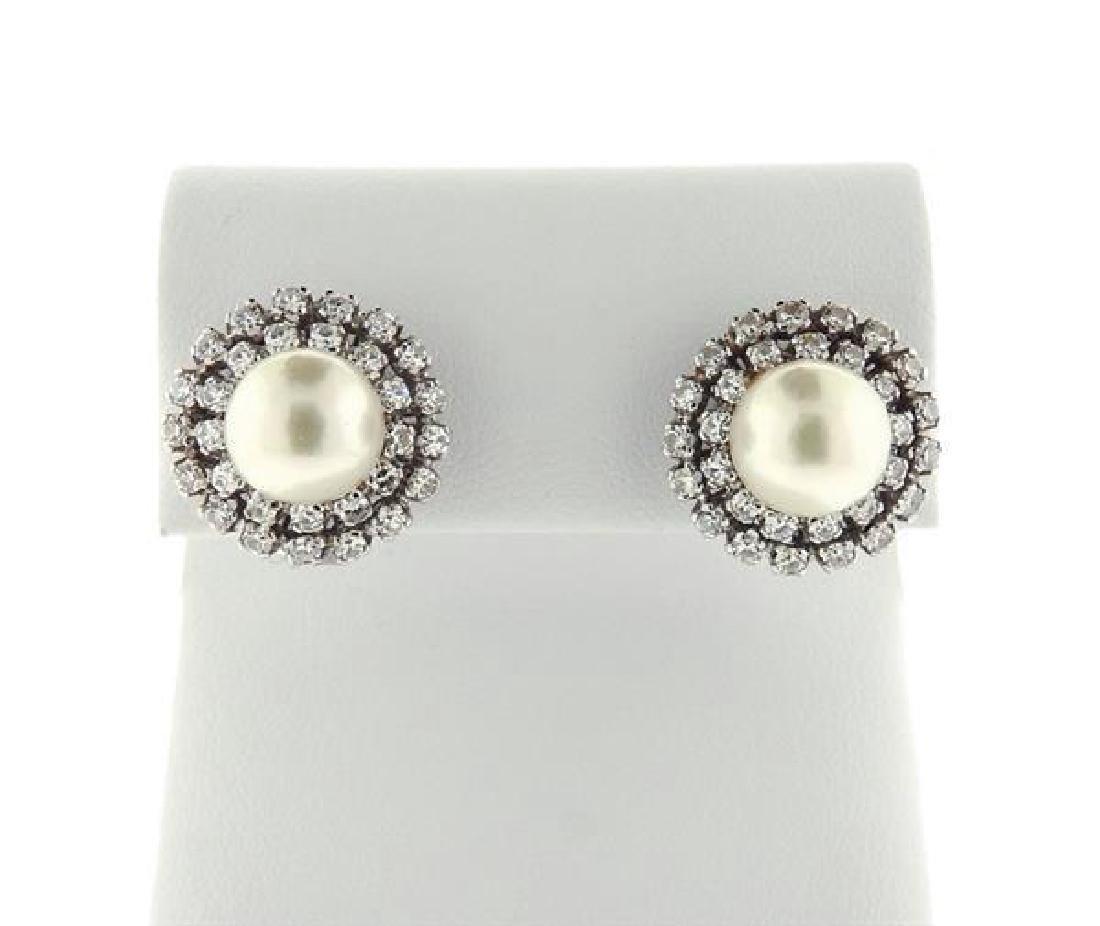 18K Gold Diamond Pearl Earrings - 7