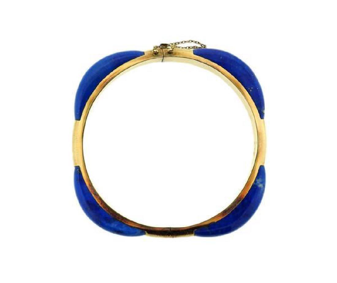 14K Gold Blue Stone Bangle Bracelet