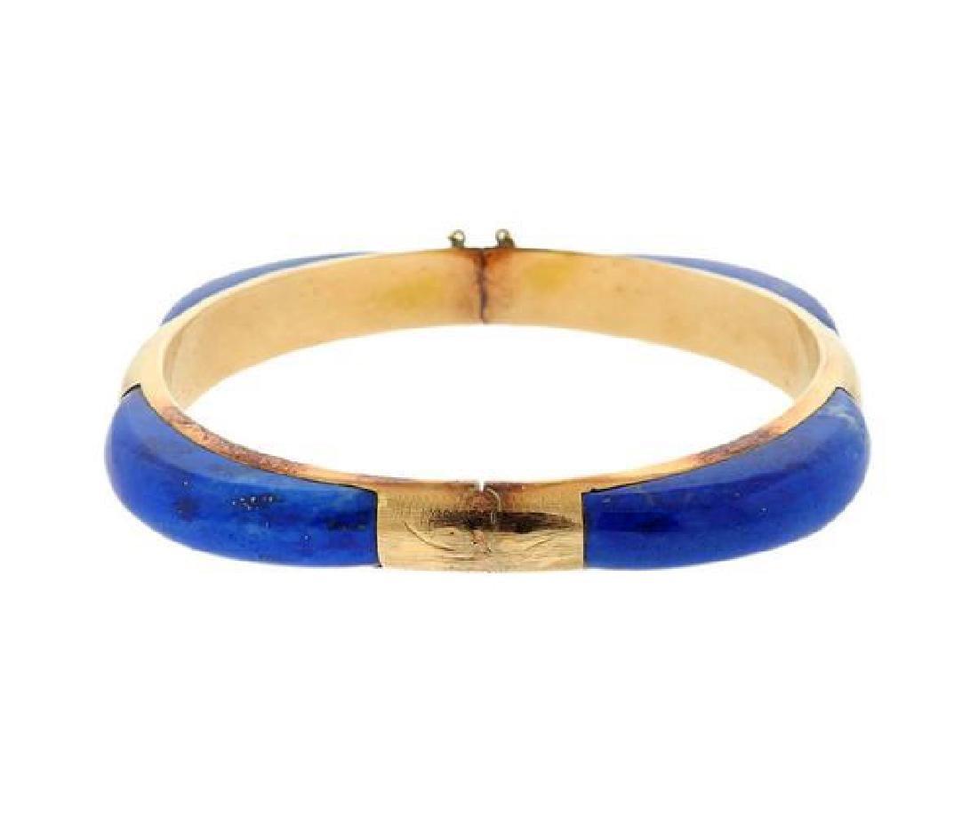 14K Gold Blue Stone Bangle Bracelet - 2