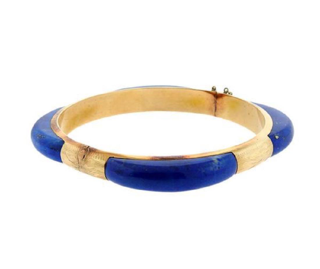 14K Gold Blue Stone Bangle Bracelet - 3