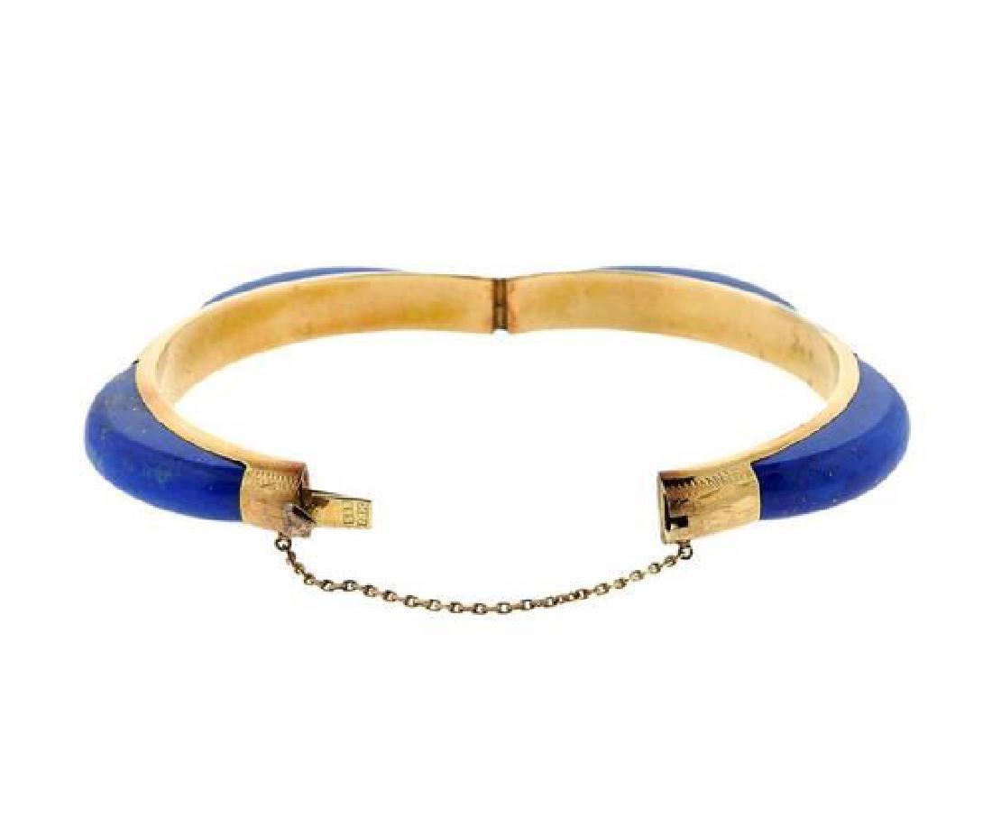 14K Gold Blue Stone Bangle Bracelet - 4