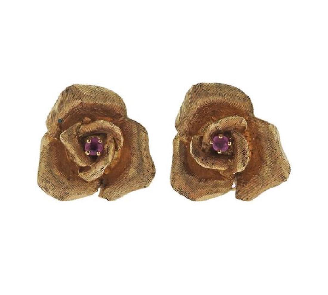 14k Gold Ruby Rose Flower Earrings