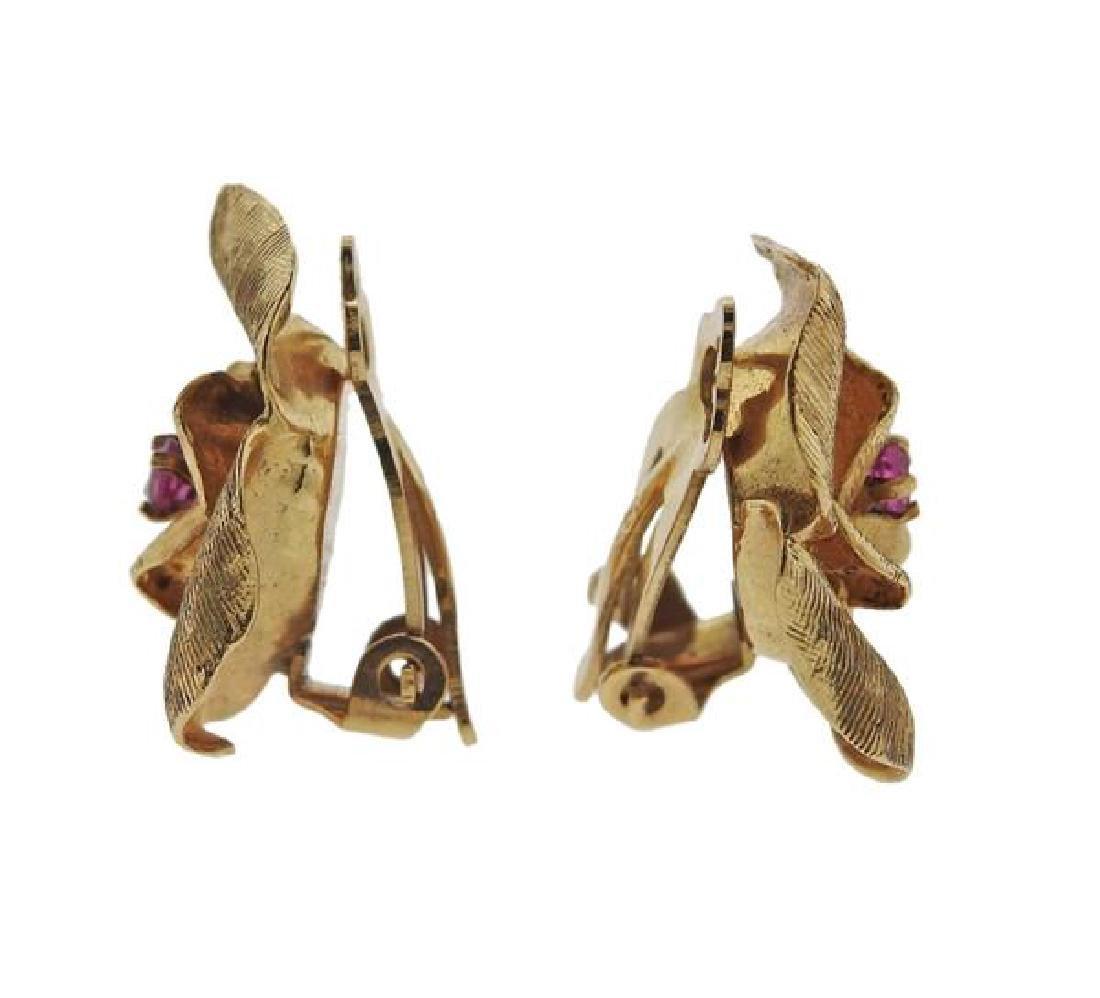 14k Gold Ruby Rose Flower Earrings - 2