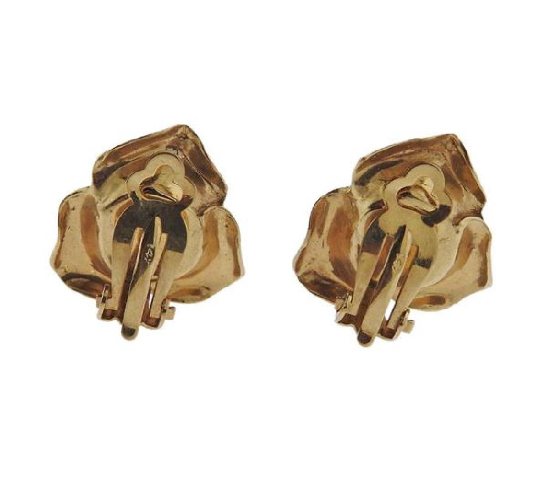 14k Gold Ruby Rose Flower Earrings - 3