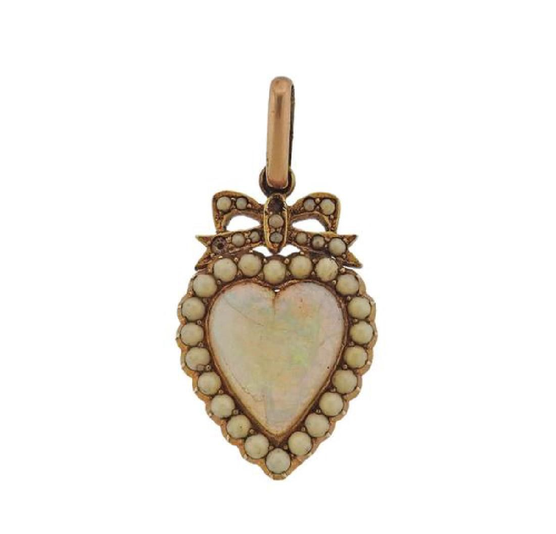 Antique 14k Gold Opal Heart Pendant