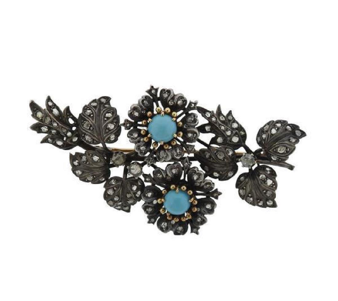 Antique 18K Gold Silver Diamond Blue Stone Brooch