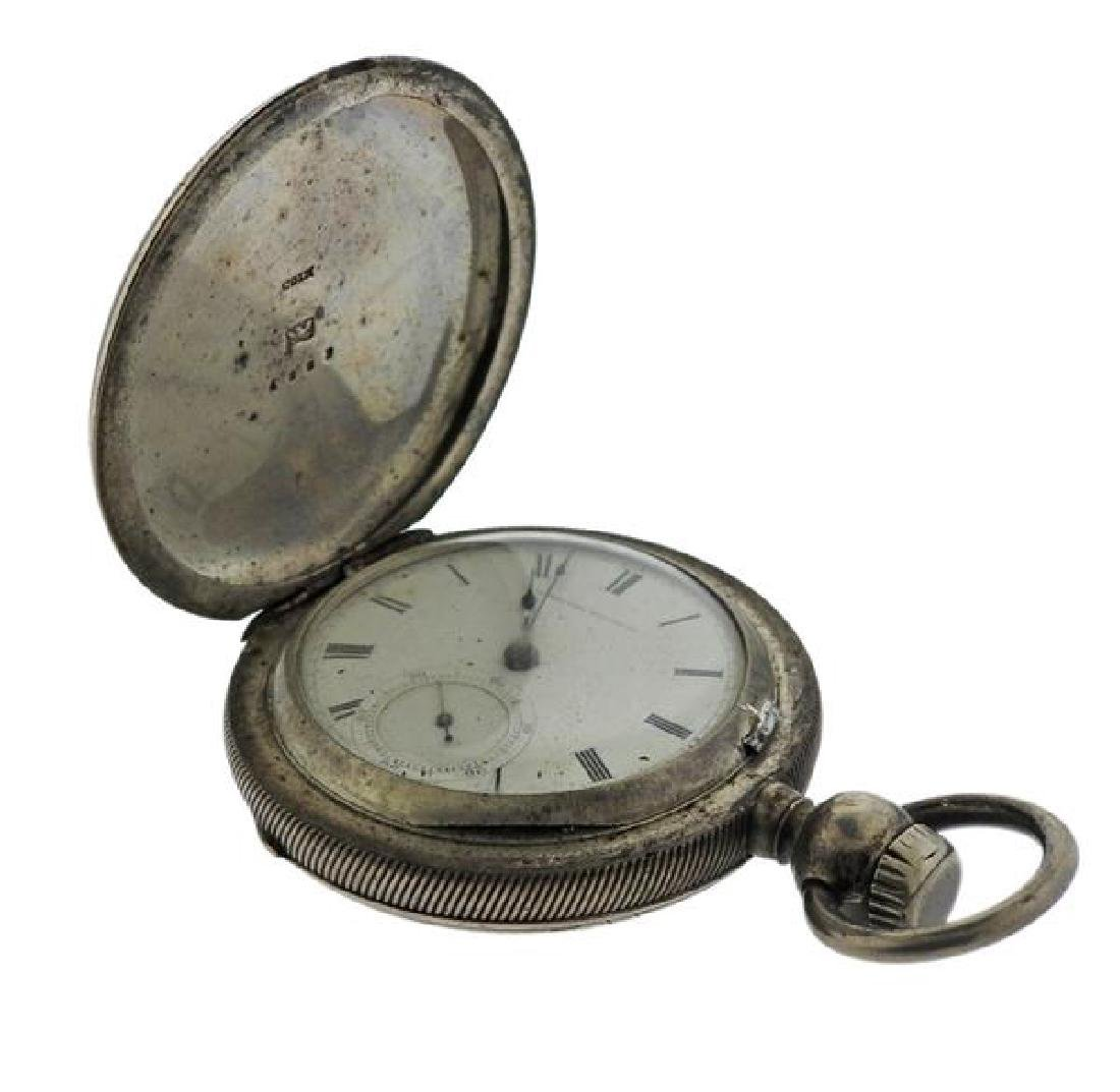American Watch Co. AWC Coin Silver Pocket Watch - 4
