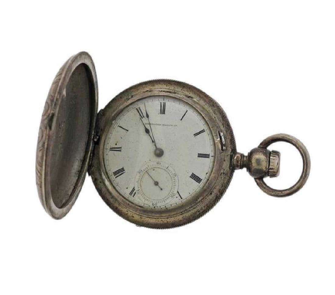 American Watch Co. AWC Coin Silver Pocket Watch - 5