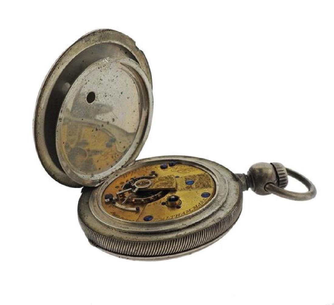 American Watch Co. AWC Coin Silver Pocket Watch - 7