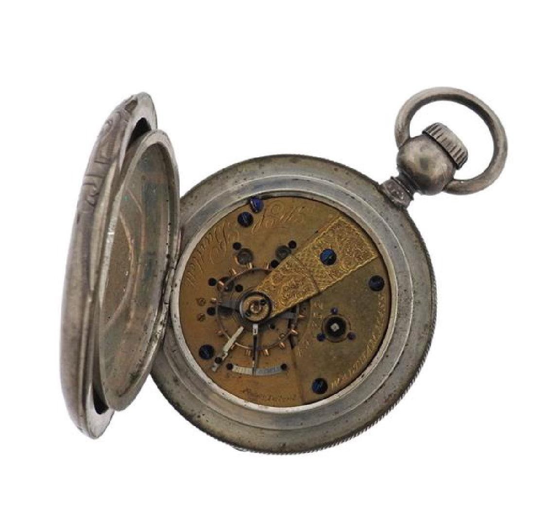 American Watch Co. AWC Coin Silver Pocket Watch - 8