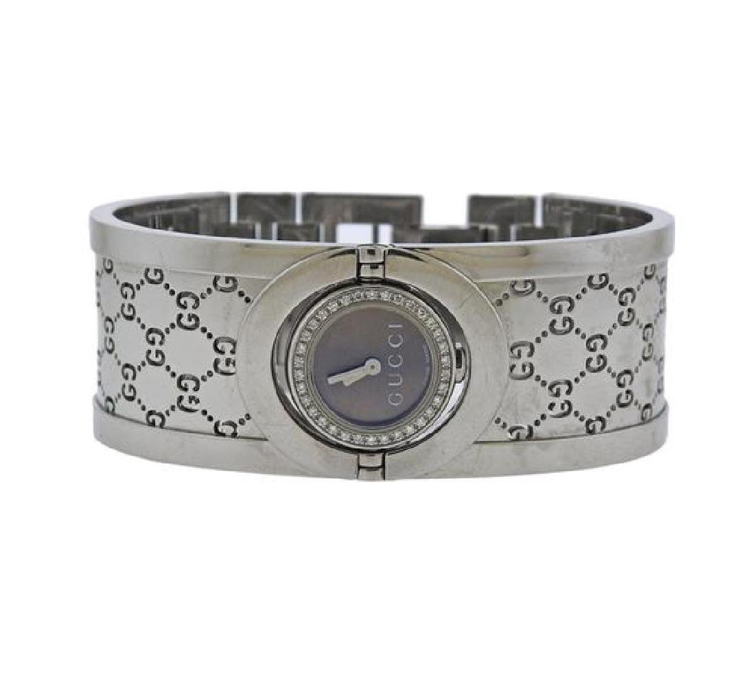 Gucci Steel Diamond Lady's Flip Watch Bracelet