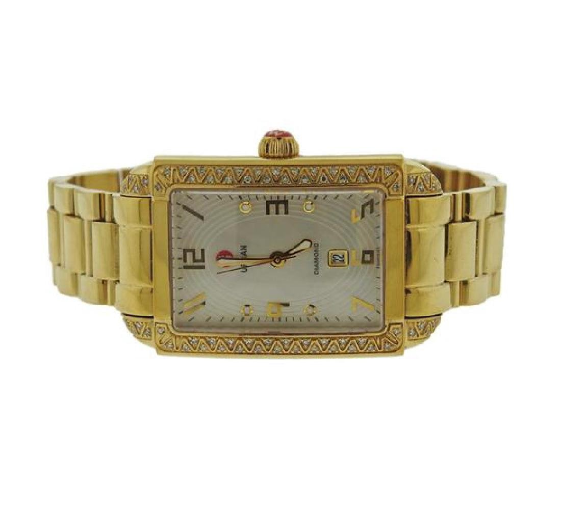 Michele Urban Sky Gold Tone Steel Diamond Watch