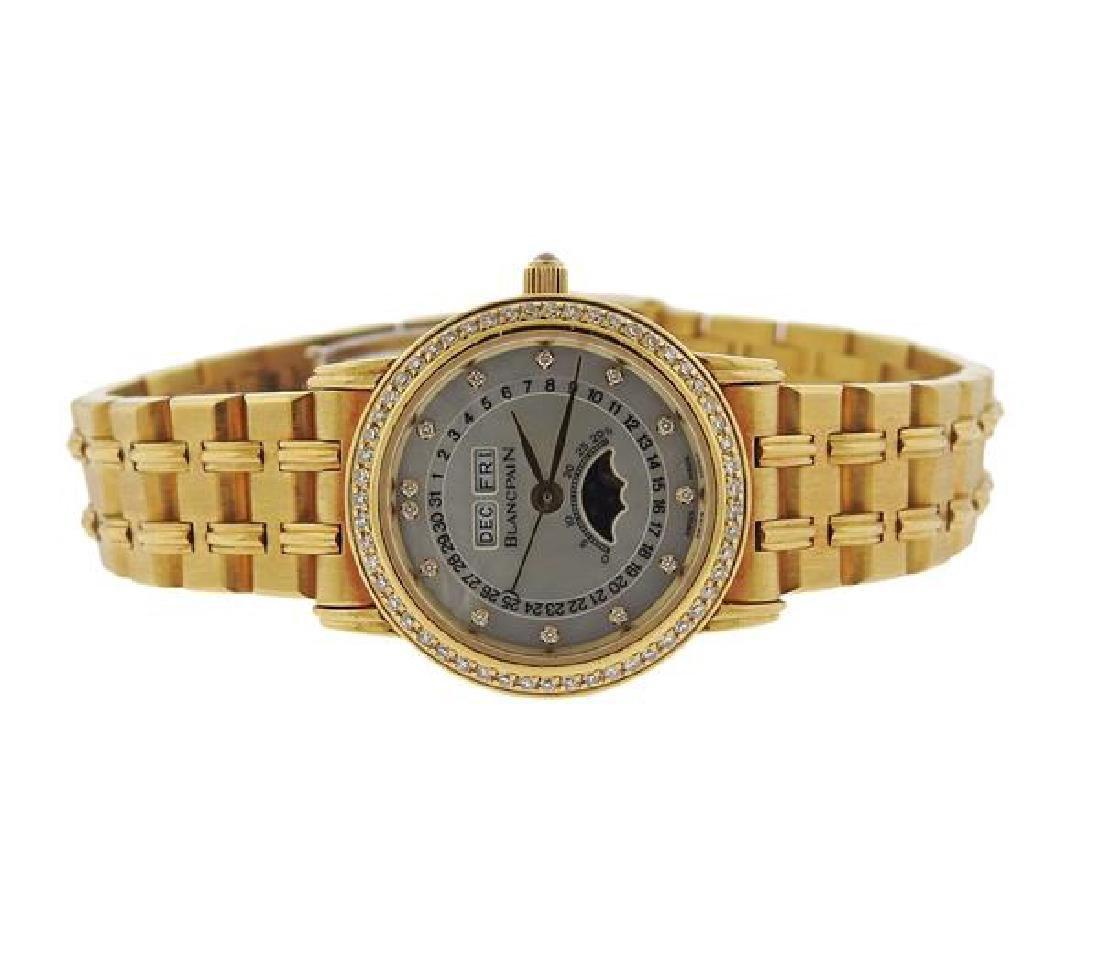 Blancpain 18k Gold Diamond Moonphase Calendar Watch 172