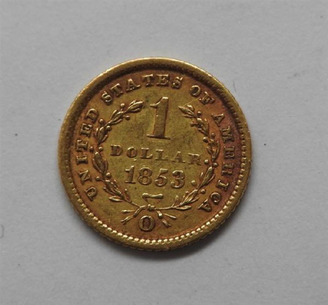 1853 O Liberty Head 1 Dollar US Gold Coin - 2