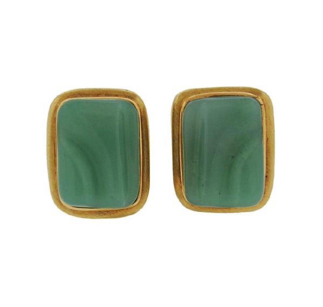 Burle Marx 18K Gold Chrysoprase Earrings