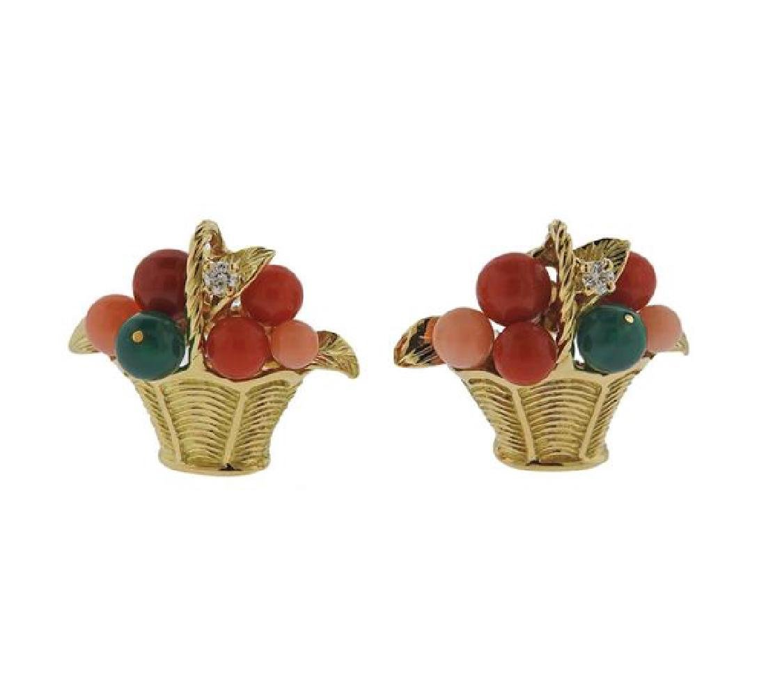 Van Cleef & Arpels VCA Coral 18k Gold Earrings