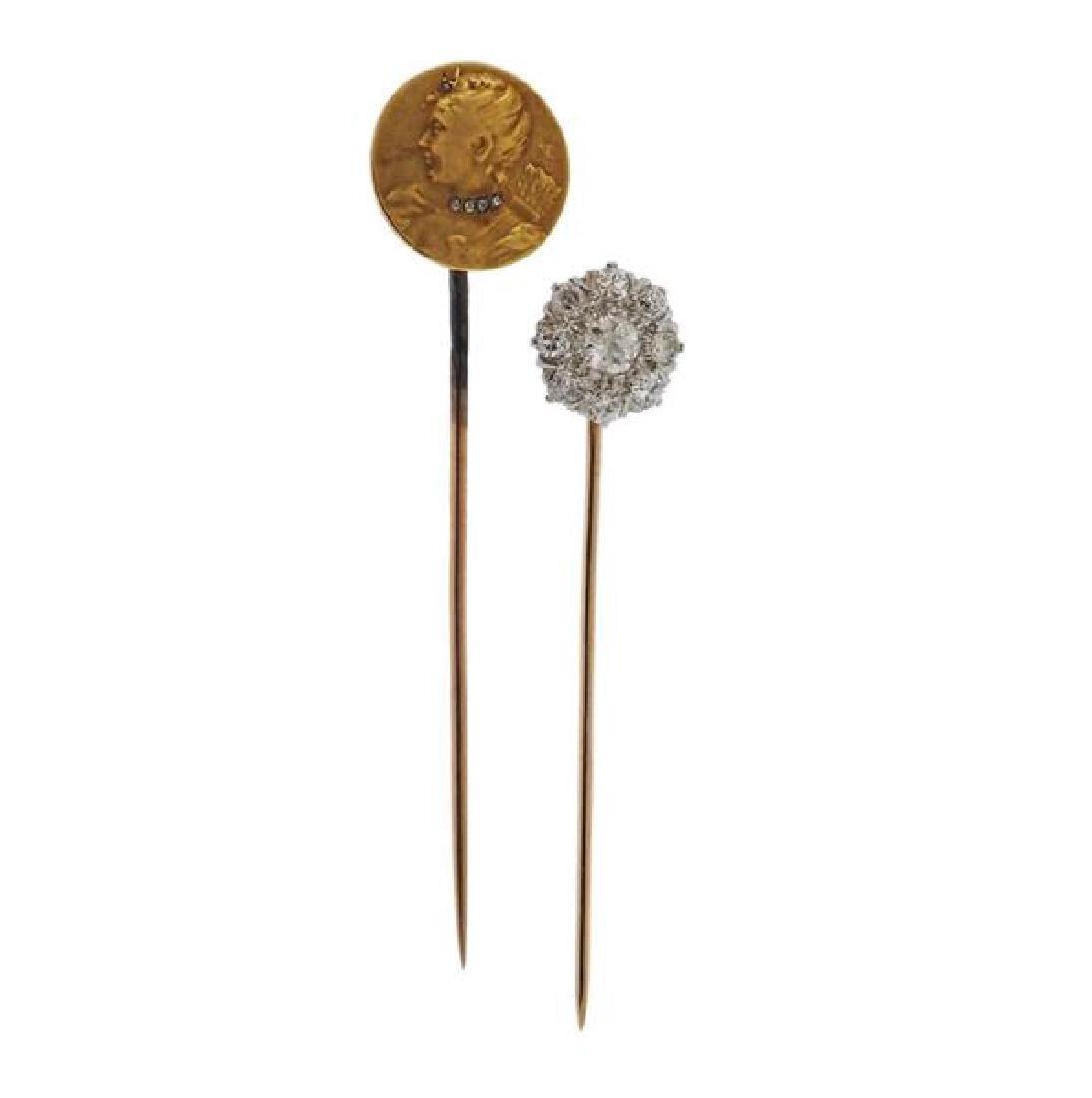 Antique Gold Diamond Stick Pin Lot of 2