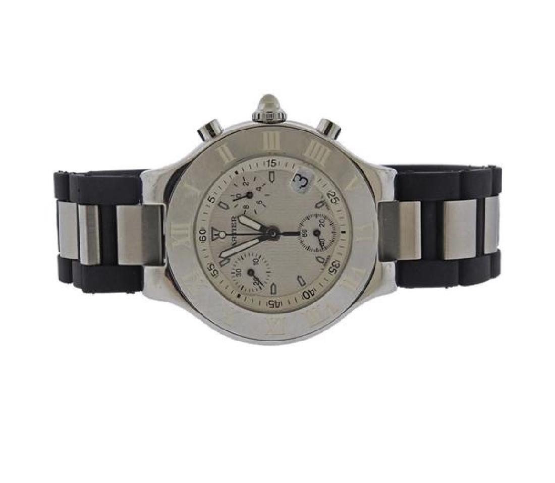 Cartier Chronoscaph 21 Steel Rubber Watch