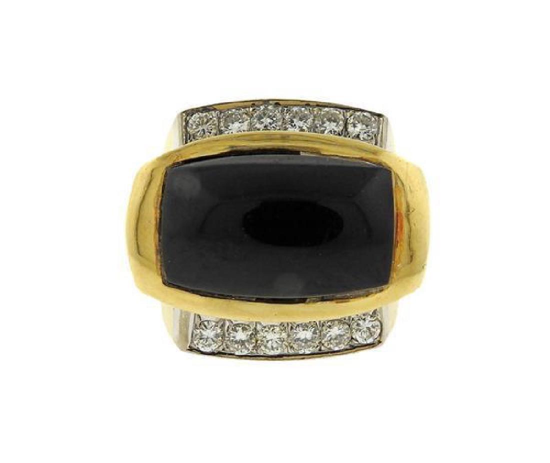 14K Gold Diamond Onyx Dome Ring