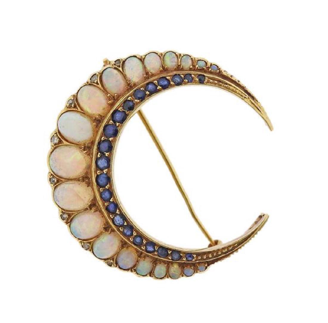 Merrin 18K Gold Diamond Opal Blue Stone Brooch Pin