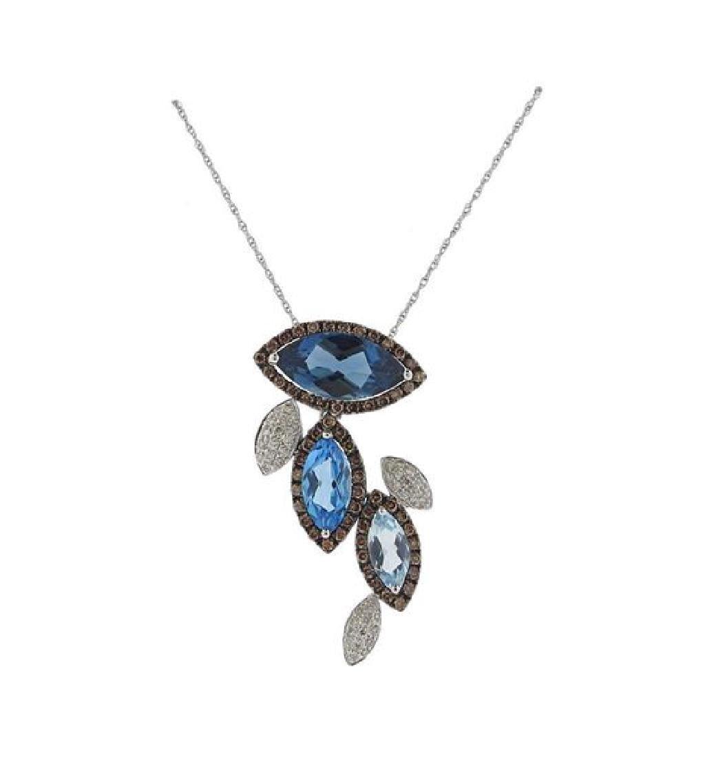 LeVian 14K Gold Diamond London Blue Topaz Necklace