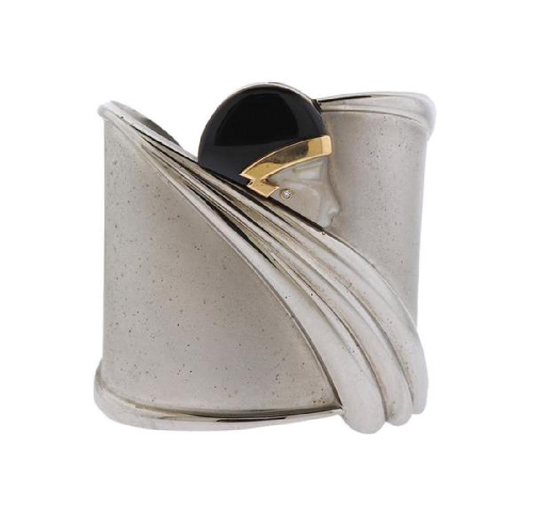 Erte Tempest Sterling Gold Diamond Onyx MOP Bracelet
