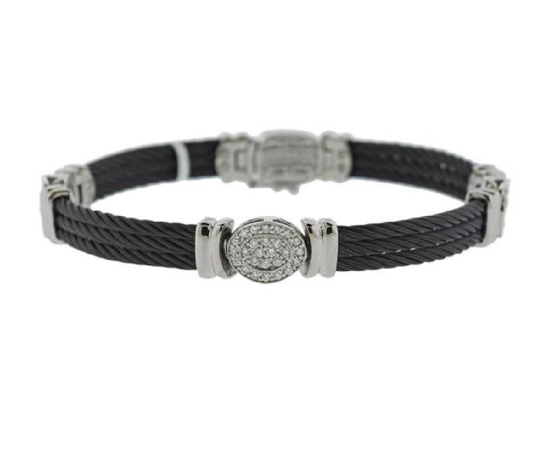 Charriol Celtic Noir 18K Gold Steel Diamond Bracelet