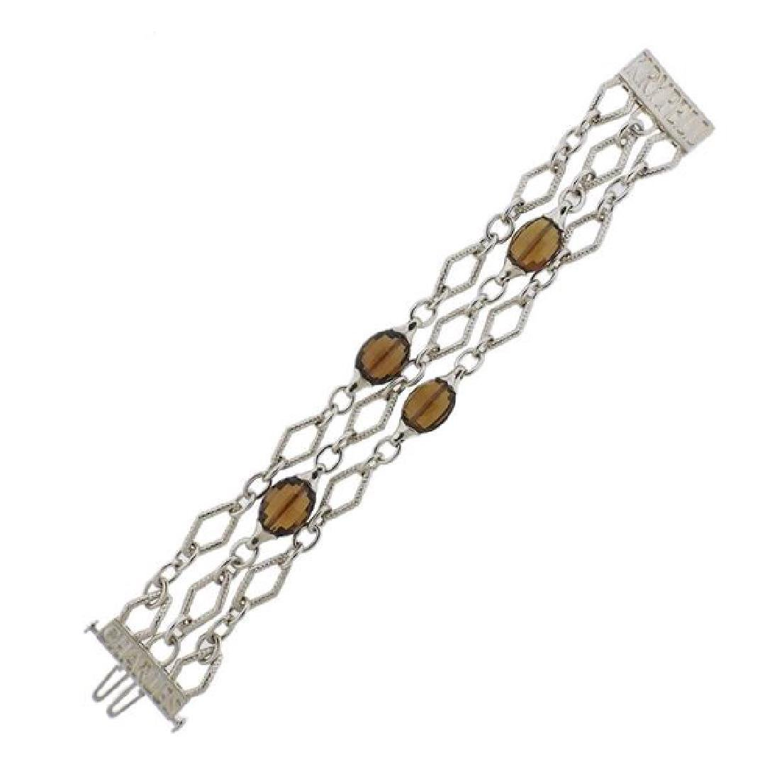 C. Krypell 18K Gold Silver Smoky Quartz Bracelet