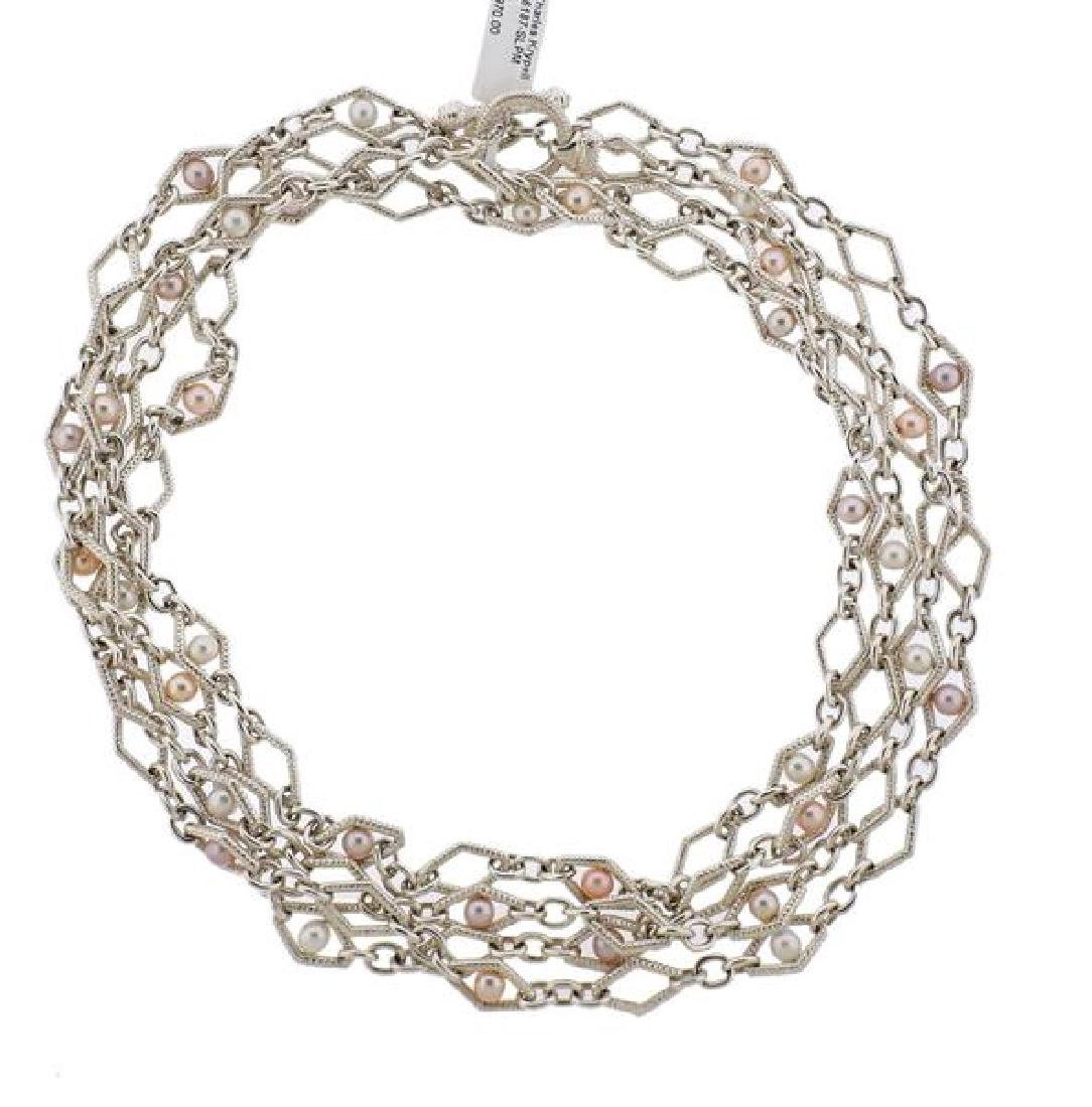 C. Krypell Sterling Silver Pearl Long Toggle Necklace