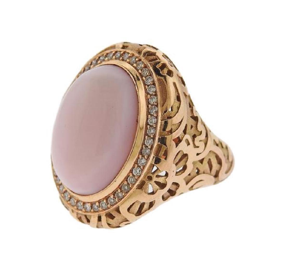18k Gold Chalcedony  Diamond Ring