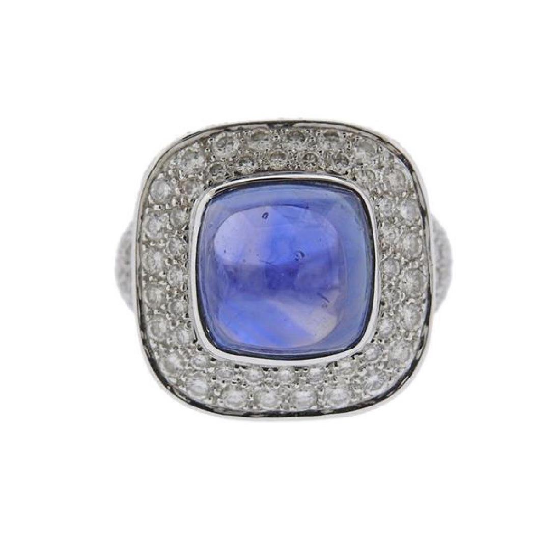 Mouawad 11ct Sapphire Diamond 18k Gold Ring