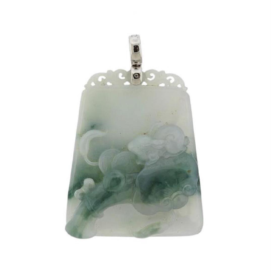 Carved Natural Jadeite Jade 18k Gold Pendant