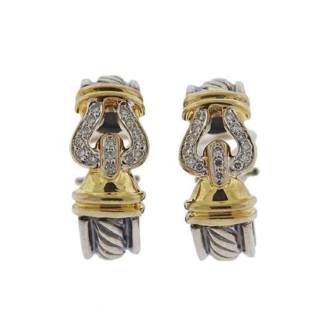 David Yurman Buckle 14k Gold Silver Diamond Earrings
