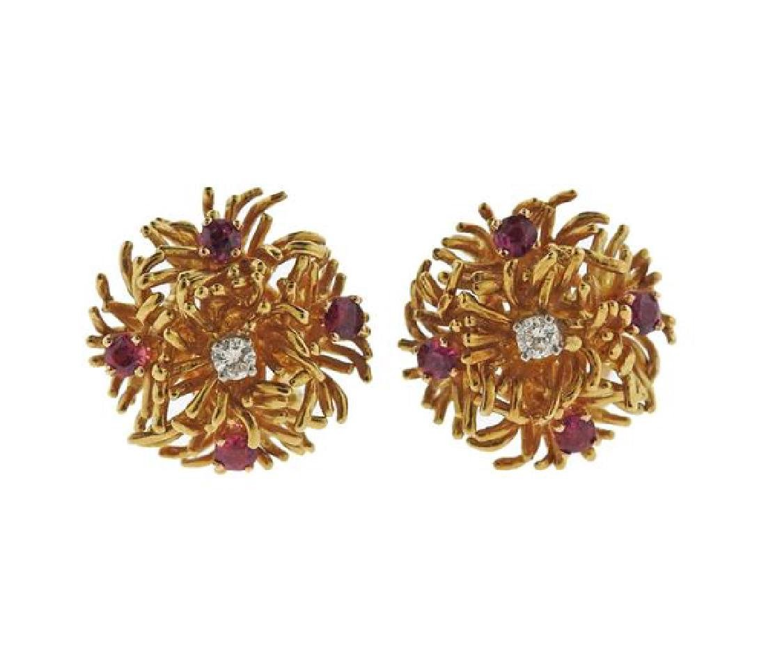 Tiffany & Co 18k Gold Diamond Ruby Earrings