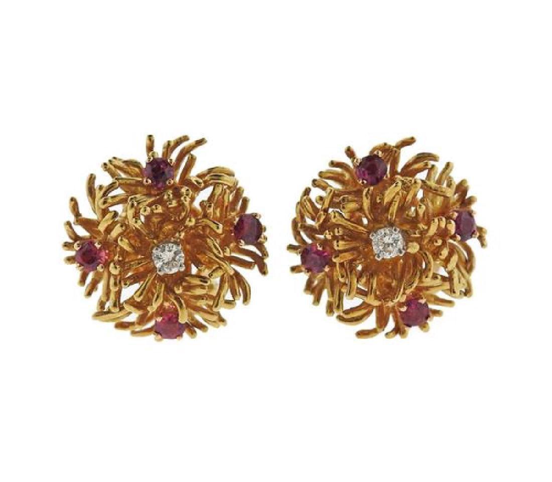 Tiffany & Co 18k Gold Diamond Ruby Earrings
