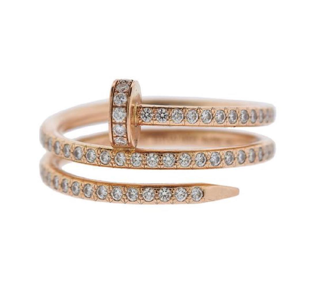 ecc69ea4780e4 Cartier Juste Un Clou 18k Rose Gold Diamond Nail Ring