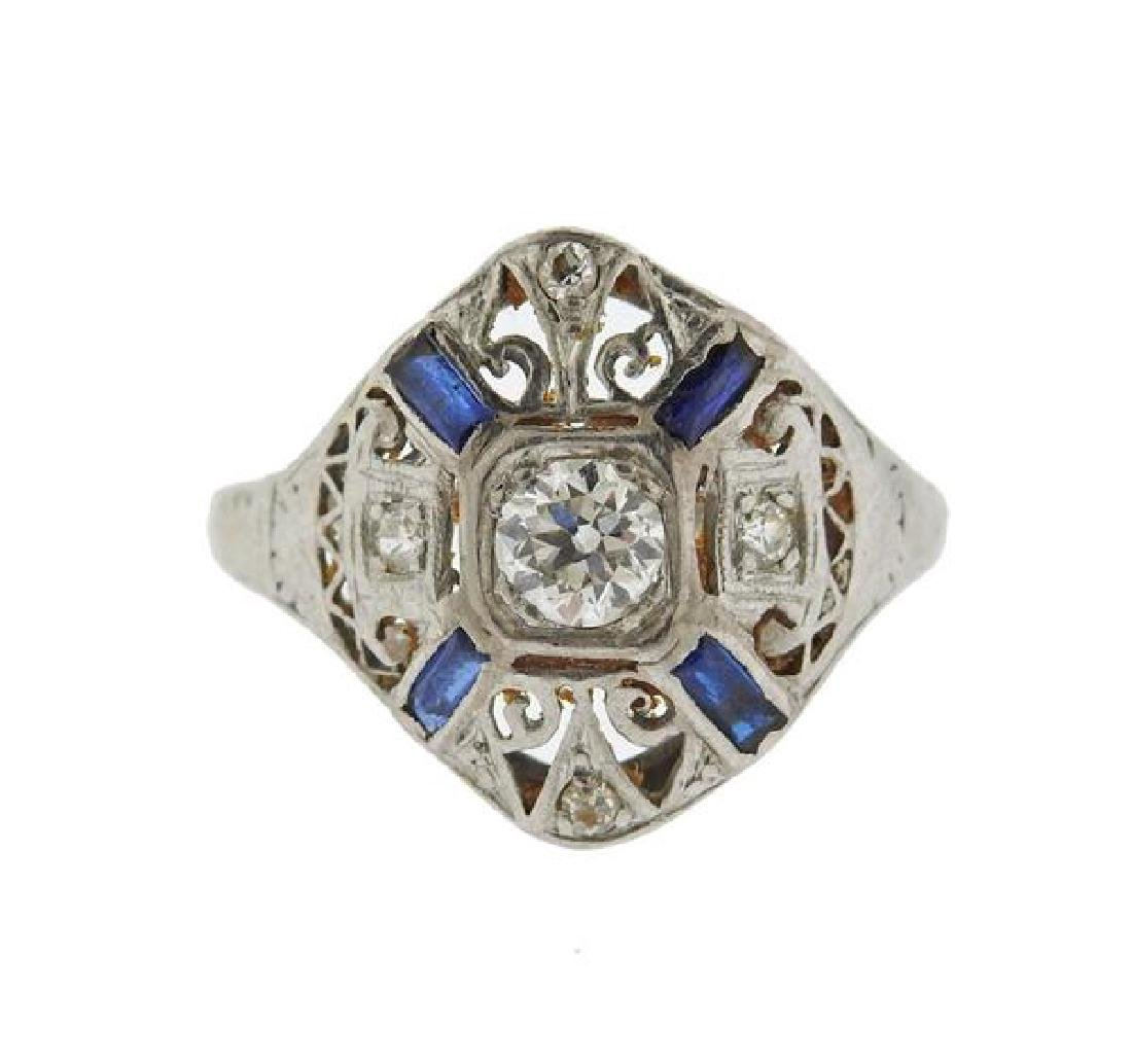 Art Deco Platinum 18k Gold Diamond Gemstone Ring