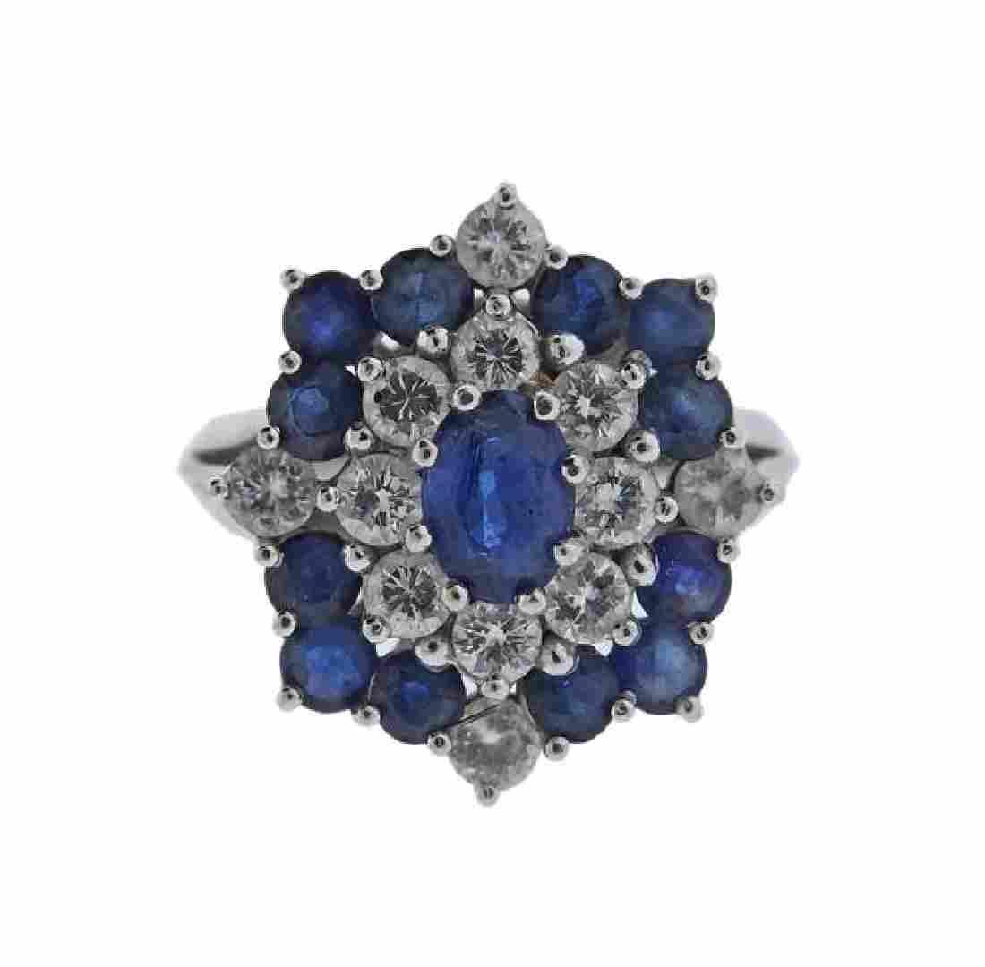 14k Gold Diamond Sapphire Cluster Ring