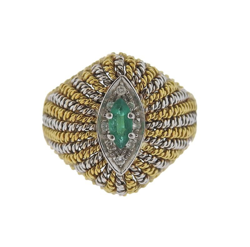 1960s 18k Gold Diamond Emerald Dome Ring