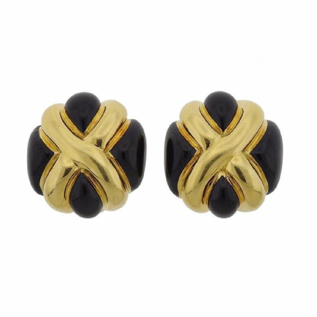 Andrew Clunn 18K Gold Onyx Earrings