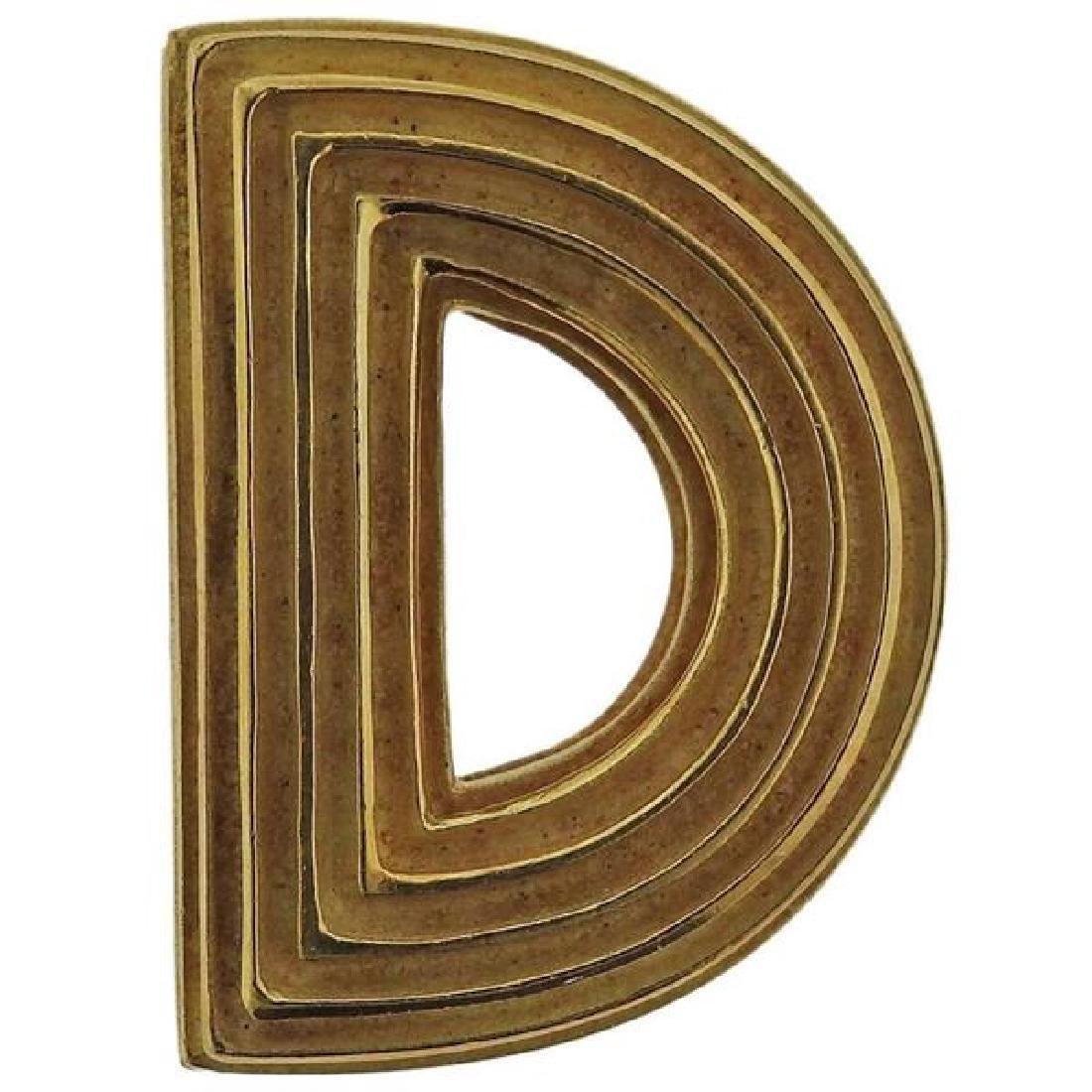 Christopher Walling Ridged Logic 18k Gold Brooch Pin