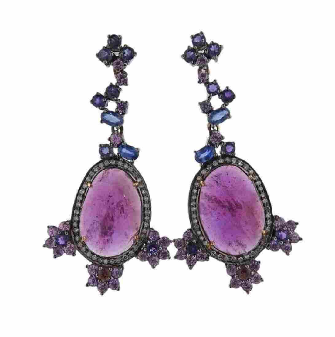 14k Gold Silver Sapphire Ruby Drop Earrings