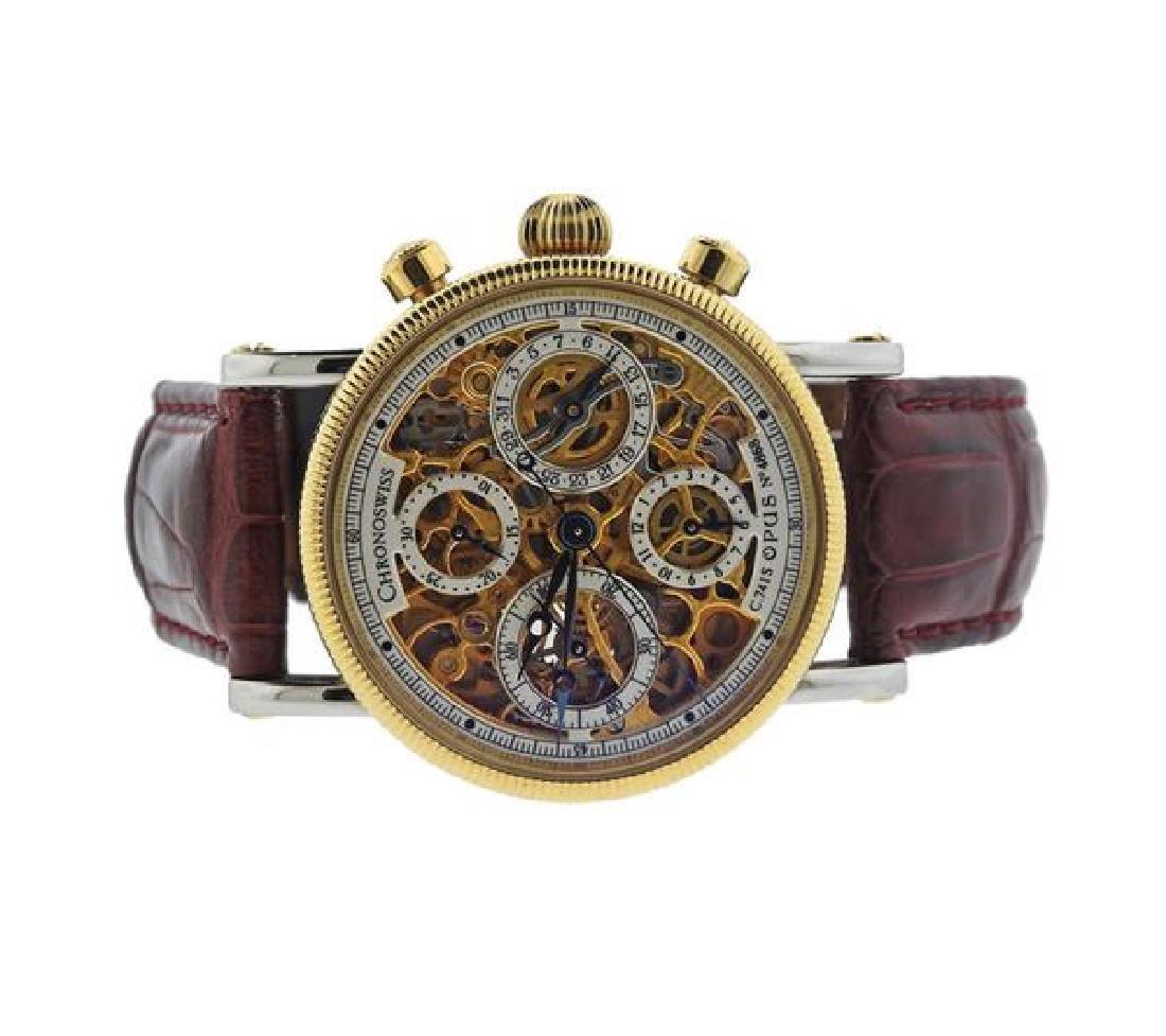 Chronoswiss Opus 18k Gold Steel Calendar Auto Watch