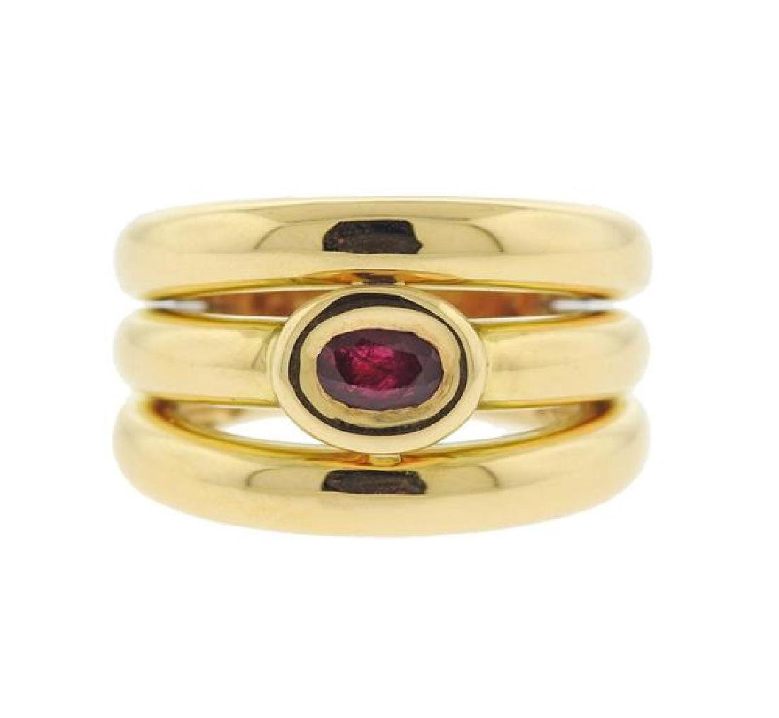 Chaumet 18k Gold Ruby Wide Ring