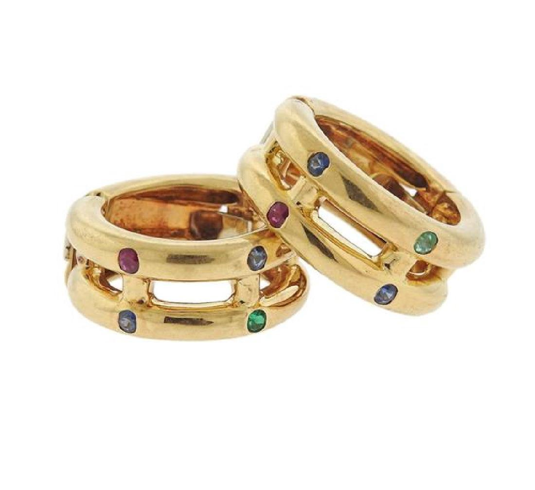 Chaumet 18k Gold Sapphire Ruby Emerald Hoop Earrings