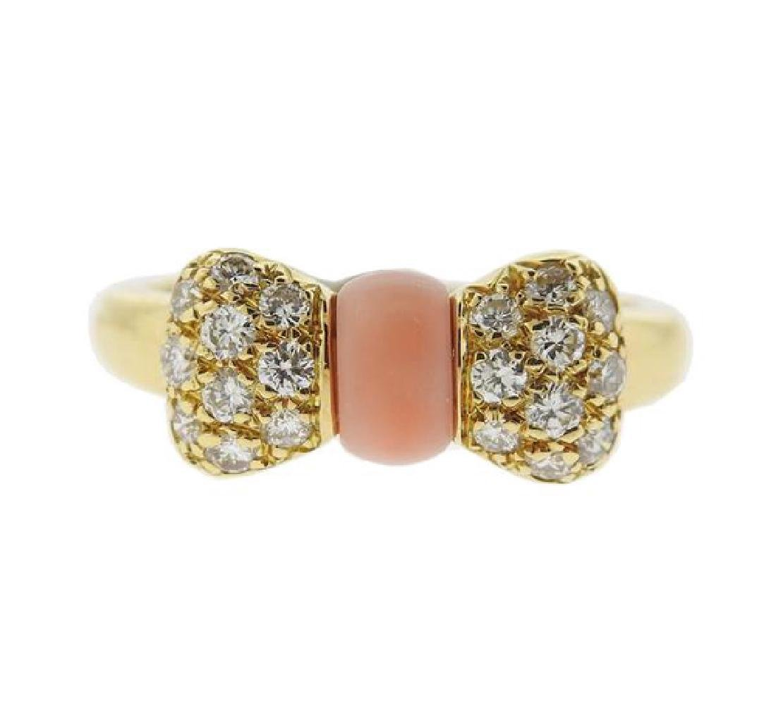 Van Cleef & Arpels 18k Gold Diamond Coral Bow Ring