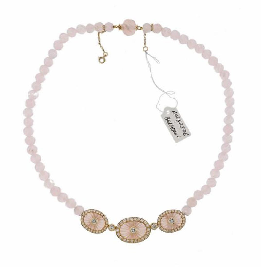 Boucheron 18k Gold Diamond Rose Quartz Necklace