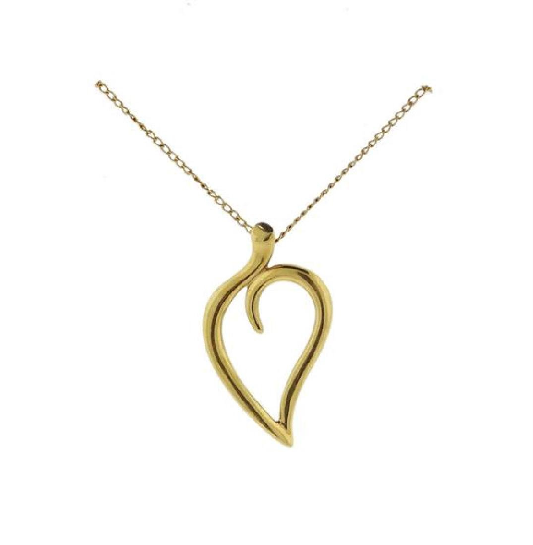 Tiffany & Co 18k Gold Leaf Pendant Necklace